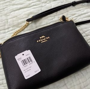 Coach pebble leather zip cross body black bag